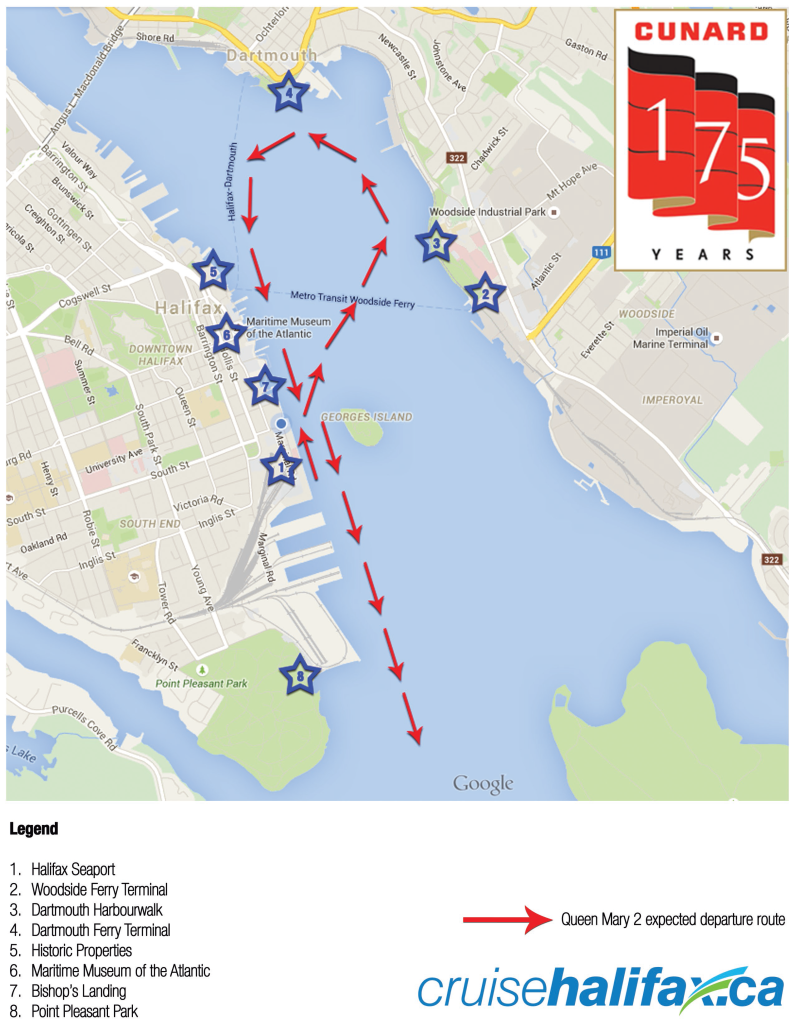 Schedule of public viewing locations for Queen Mary 2 departure from Halifax